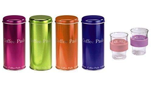 Kaffee Pad Behälter 4-er Set Neon Pink/Grün/Orange/Blau + 2 Gläser (rose)