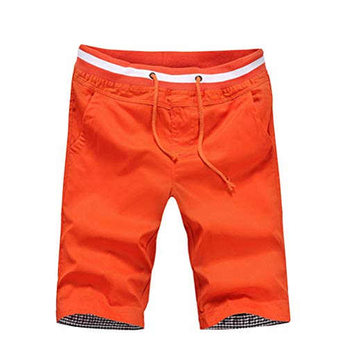 MäNner Casual Shorts Stretch Drawstring Einfache Freizeit Und Sportliche Arbeit Business Knielange Hosen Kleidung (Herrlichkeit Haus)