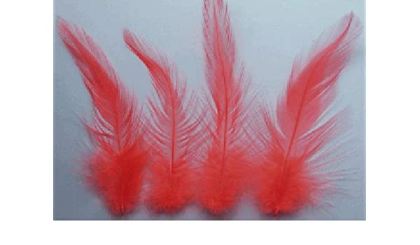 COCK HACKLE 50 FEATHERS FLYNSCOTSMAN TACKLE LOOSE NO CAPE HOT ORANGE ROOSTER