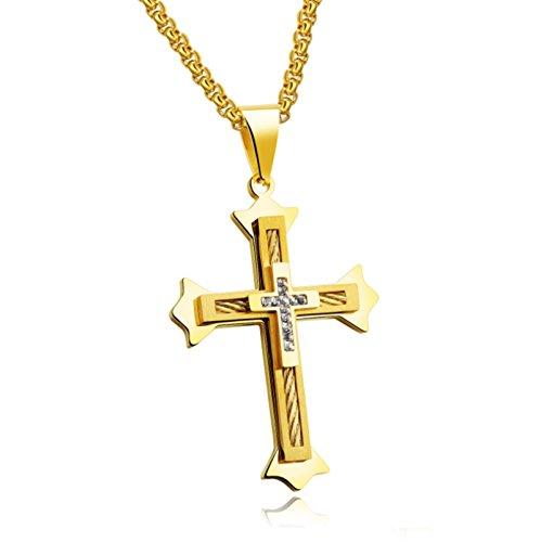 KnSam 18k Gold Vergoldet Kreuz Anhänger Halskette für Herren Damen mit 60cm Popcorn-Kette 3A Zirkonia Gold [Neuheit Halsschmuck]