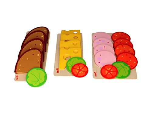 Goki Brotscheiben, Wurstscheiben und Käseaufschnitt, mit Salat- und Gemüsebeilage für Kaufmannsladen & Spielküche