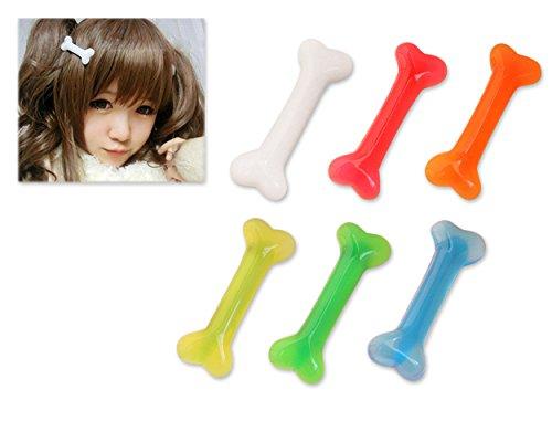 el cabello 6 piezas coloridas Cute Dog Hueso horquilla Hair Accessories pin para las mujeres Niñas Niños (Huesos De Halloween)