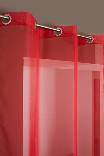 Visillo Clásico con 6 Ojales 140 x 240 cm Rojo