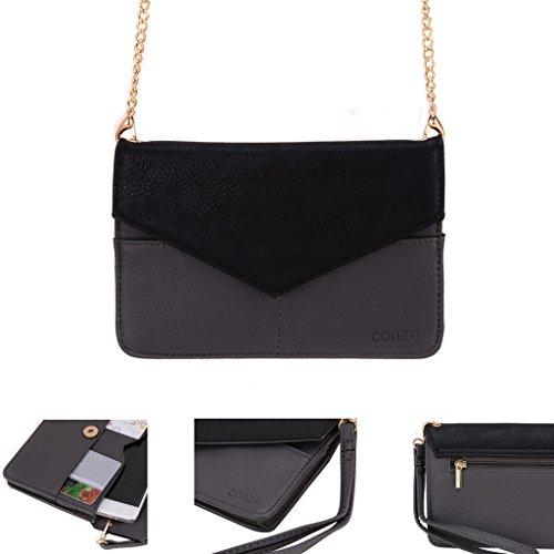 conze de femmes d'embrayage portefeuille tout ce sac avec bretelles pour Smart Téléphone pour HTC Desire 826/Dual SIM gris gris