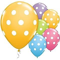 Idea Regalo - ocballoons Palloncini Colorati Pois Bianchi - addobbi e Decorazioni per Feste Compleanni, Battesimi, comunioni, Matrimoni - Confezione da 12 pz