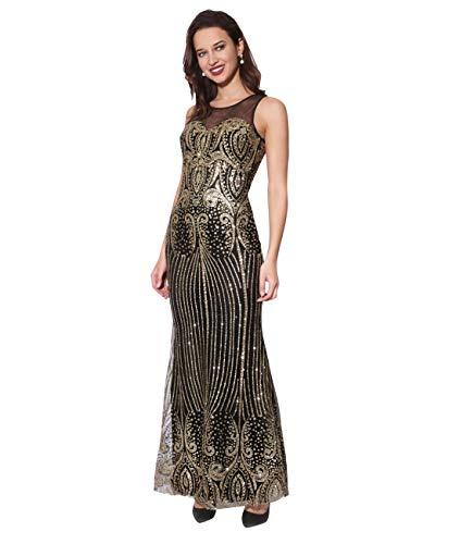 KRISP Damen Bodenlanges Abendkleid mit Glitzer Details Figurbetont, Schwarz/Gold (3067), 48, 3067-BLKGLD-20