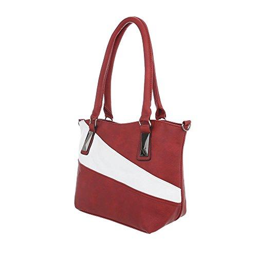 iTal-dEsiGn Damentasche Kleine Schultertasche Used Optik Handtasche Kunstleder TA-C-571 Rot Weiß