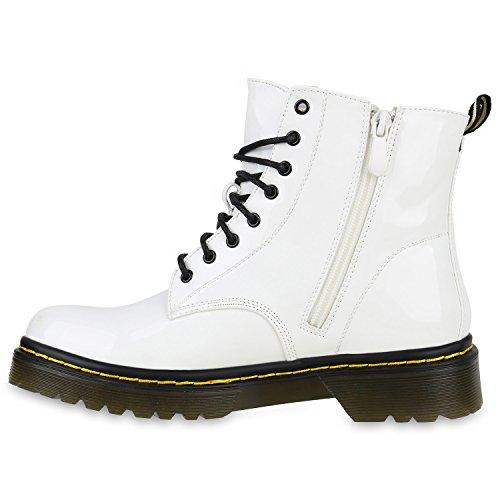 Damen Stiefeletten Worker Boots Lack Profilsohle 90s Look Weiß