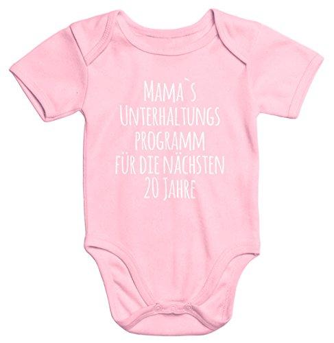 MoonWorks Kurzarm Baby-Body mit Aufdruck Mama`s Unterhaltungsprogramm für die nächsten 20 Jahre Bio-Baumwolle rosa 6-12 Monate