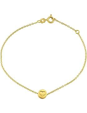 SILVEGO Armkette mit Anhänger Herzchen geprägt 925 Sterling Silber vergoldet
