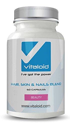 Fórmula Cabello Piel y Uñas Vitaloid - Biotina - La mejor Vitamina para el cabello, piel y uñas - Contribuye al crecimiento y a fortalecer el CABELLO - Contribuye a fortalecer el estado de la piel y uñas - Resultados en pocos días