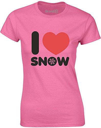 Brand88 - I Love Snow, Gedruckt Frauen T-Shirt Azalee/Schwarz/Rote