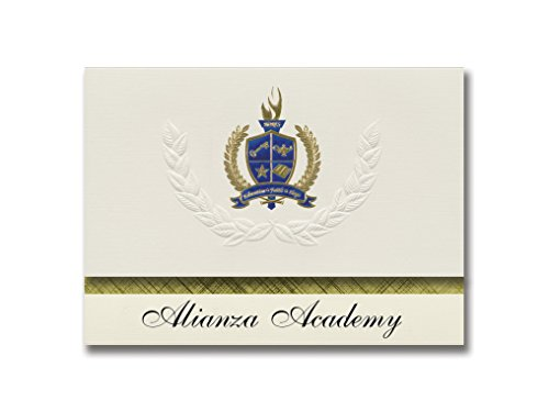 Salt-paket (Signature Ankündigungen ALIANZA Academy (Salt Lake City, UT) Graduation Ankündigungen, Presidential Stil, Basic Paket 25Stück mit Gold & Blau Metallic Folie Dichtung)