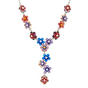 Perfect Gift - High Quality Flowery Necklace with Multi-color Swarovski Crystals (1764)