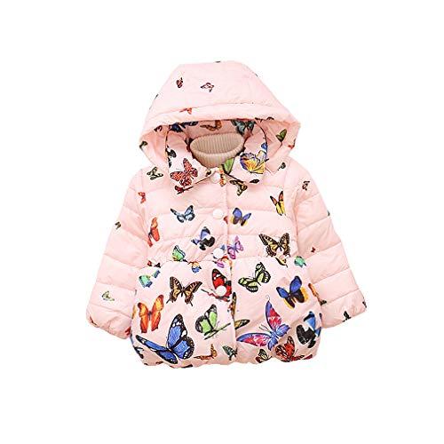 Steppjacke baby Mädchen Winter Kapuzenmantel Schmetterling Drucken Reißverschluss Baumwollmantel Snowsuit Jacke Oberbekleidung/Rosa / Beige(1-3 ()