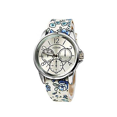 Floral Riemen Damen Uhren Modeuhren (Silber Gürtel Floral)