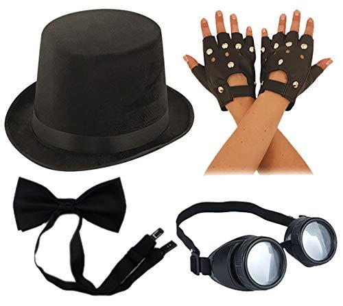 Islander Fashions Adultos Steampunk Kit de Accesorios Sombrero de Terciopelo Negro Corbata de mo�o Guantes de Motero Conjunto de Gafas de Talla �nica