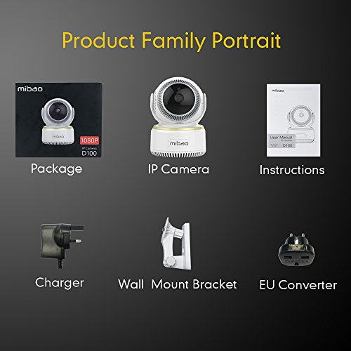 Mibao 1080P Telecamera Sorveglianza Wifi Camera IP Wireless Interno con Visione Notturna, Rilevamento Movimento, Allarme via Email, Pet/Elderly/Baby Monitor, Compatibile con iOS e Android e PC - 8