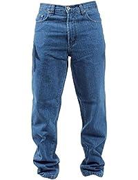 Mens Blue Circle Jeans Lourds Vêtements De Travail Base Droite Régulière Ajustement Stonewash Jeans 28-60