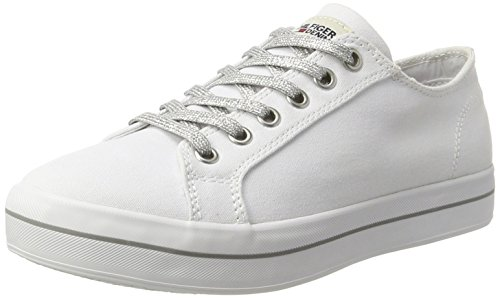 Tommy Hilfiger Damen N1385ICE 1D1 Sneakers, Weiß (White 100), 37 EU (Weiße Canvas-sneakers)