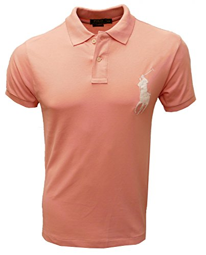 RALPH LAUREN POLO HERREN POLOSHIRT BIG PONY CUSTOM FIT in verschiedenen Farben, Original, Outletware, Größe:S, Farbe:Rosa (Polo-pony-shirt)