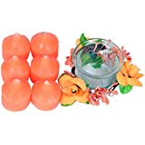 PartyHut Candle Gift Pack Orange Colour Six Candle With Holder