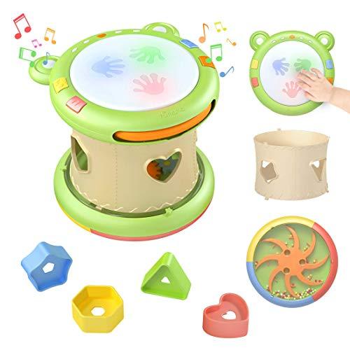 TUMAMA Baby Musical Elektronisches Spielzeug,Baby Musik Trommel Musikinstrumente sensorisches Spielzeug Musikspielzeug Geschenk für Kleinkinder,Jungen,Mädchen,6-12 Monate und up