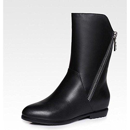 HSXZ Scarpe donna in vera pelle di vacchetta gomma Autunno Inverno la moda Stivali Stivali Mid-Calf piatto stivali per Casual marrone nero Black