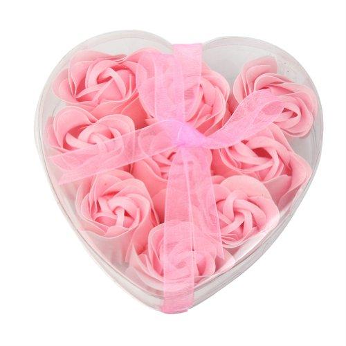 9pcs Bath Body Flower Heart Favor Soap Rose Petal Wedding Decoration Gifts - Pink