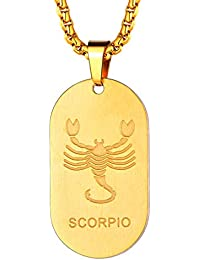 FaitiHeart Astrología Medalla Ovalada Acero Inoxidable Collar de Horóscopo para Hombre y Mujer Colgante de Identidad