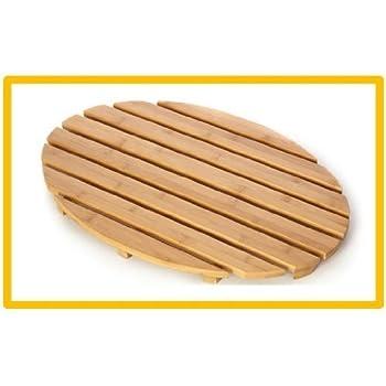 Bamboo Wood Oval Duck Board Bath Mat Set Bathroom Shower By Blue Canyon