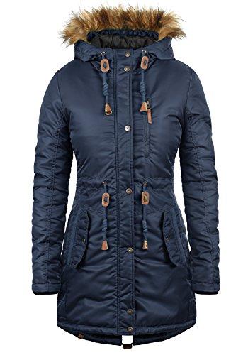 Blend SHE EDA Damen Winter Jacke Parka Mantel Winterjacke gefüttert mit Kunst-Fellkapuze, Größe:L, Farbe:Navy (70230)