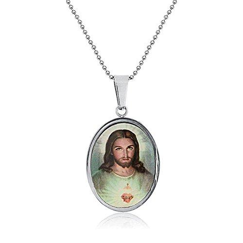 Bling Jewelry Medallón Oval Medalreligiosa del Agrado Corazón Jesús Hombre Collar Colgante Foto Adolescente con Un Plateado Acero