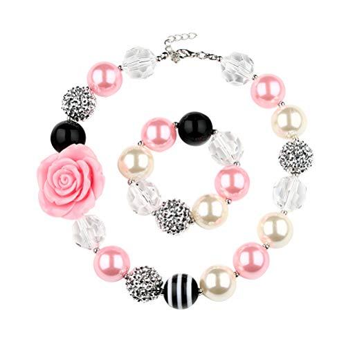 BESTOYARD Harz Blume Perlen Halskette und Perlenarmband Bubblegum Mädchen Halskette und Armband Set Chunky Jewelry Set Geschenk