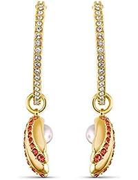 Swarovski Orecchini A Cerchio Shell Pearl, Rosso, Placcato Color Oro, Amazon Esclusivi