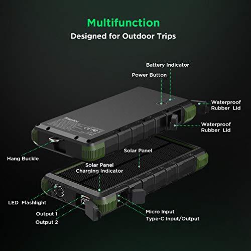 EasyAcc Externer Akku 20000mAh Outdoor Power Bank mit IP67 Zertifizierung Wasserdicht Staubdicht Sowie Stoßfest, 3 Leuchtmodis Taschenlampenfunktion für iPhone, iPad, Samsung Galaxy und Viele Andere - 5