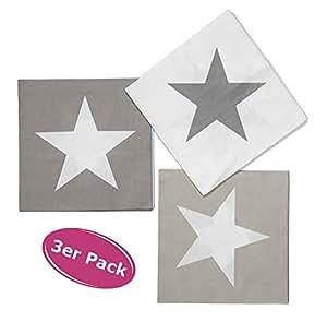 """3er Pack Servietten """"Star"""" tolle Papier Servietten mit Sternen - Tischdeko & Geschenkidee"""