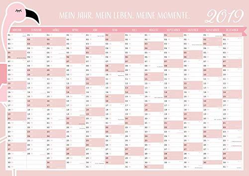 Großer Flamingo Wandkalender 2019 in DIN A1 (84 x 59,4 cm) für zu Hause oder das Büro.: XXL rosa Wandplaner, Jahreskalender für 12 Monate 2019. ... gesetzlichen und nicht-gesetzlichen Feiertage