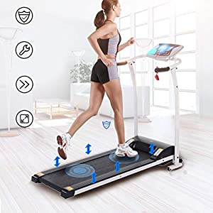41auJQ HdML. SS300  - LONTEK Electric Treadmill Speeds Up To 10km/h, Heart Rate Detection, Comfortable Running Surfaces, Easy Folding