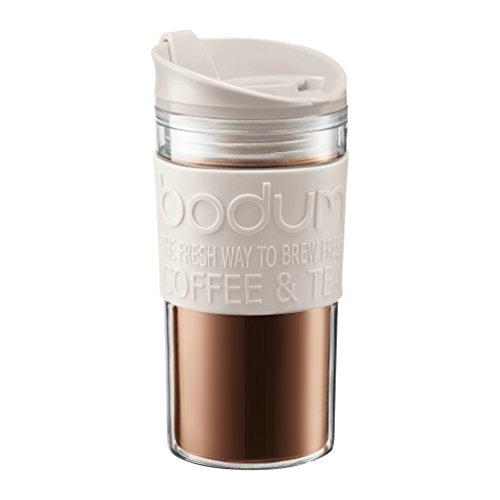Bodum Tazza da viaggio, in plastica, 0,35 litri, plastica, Bianco, 7.9 x 8 x 19 cm