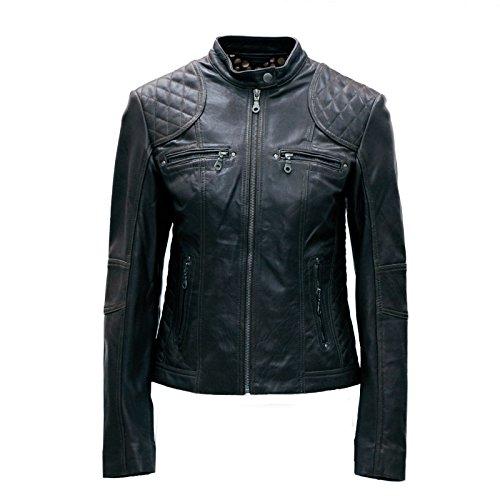 PAUL BERMAN Ladies Real Leather Black/Brown/Green/Cognac Biker Jacket Size 8 to 16
