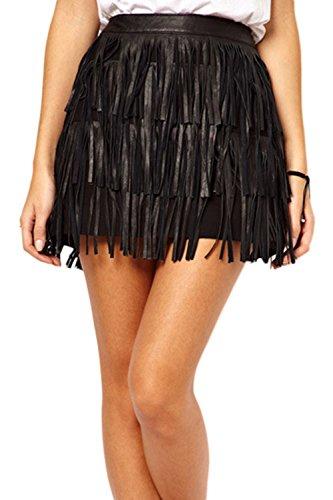 Donna Elegante Tassel Frange Di Colore Solido Bodycon Festa Minigonna Black