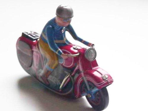 Motorrad aus Blech zum Aufziehen, rot, Blechspielzeug