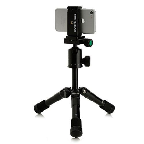 Wolffilms Smartphone / iPhone Profi Ultra-Mini Aluminium Stativ Halterung Reisestativ auch für DSLR Kameras und alle gängigen Smartphones (inkl. Apple iPhone 7 und iPhone 7 Plus), Samsung Galaxy S5 S6 S7 S8, LG, Nokia, HTC, Huawei P8 P9 P10 lite uvm.