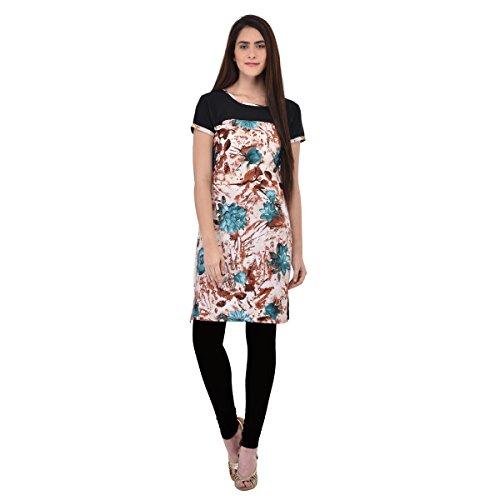 Aagaman Fashions Trendy Bunt gedruckt Crape Casual Wear Kurti (Krepp-perlen)