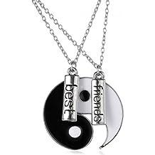 Lekima - Juego unisex mejores amigos de 2 piezas a juego de collar con colgante en aleación con letra Ying Yang Tai Chi, diseño puzle (con bolsa de regalo)