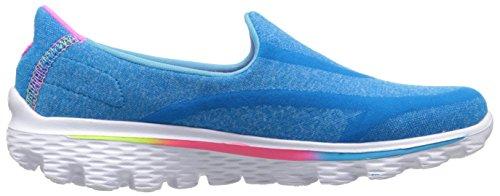 Skechers Go Walk 2 Super Sock, Baskets Basses Fille, Bleu, 17 EU Bleu