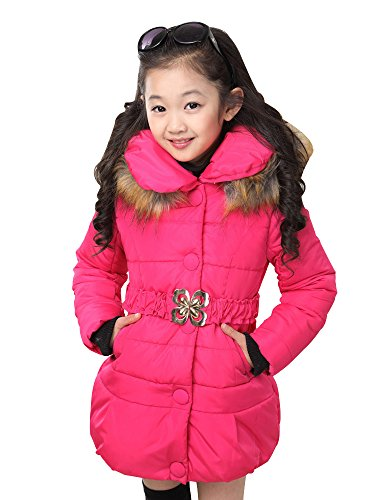 Big Girls Padded Coat Winter Jacket with Bowknot Belt and Fur Hood