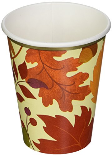 Festive Fall Disposable Paper Cups for Hot and Cold Drinks Autumn Party Tableware, 9 oz., Pack of 18.
