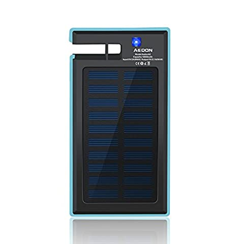 Aedon 10000mAh Multi-function Portable Solar Charger - 2-port Fast Charging Bank Rain-Resistant Shockproof External Backup Pack Power Bank for iPhone, iPad, Samsung and More, Phone Stand, Ideas for Christmas Gift (ES-YELLOW) (A2(Blue))